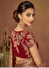 Brown and Red Embroidered Work Designer Traditional Saree - 1