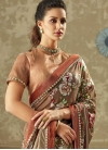 Beige and Brown Lycra Classic Saree - 1