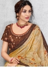 Coffee Brown and Gold Digital Print Work Designer Contemporary Style Saree - 1