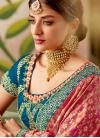 Jacquard Silk Embroidered Work Navy Blue and Rose Pink Half N Half Designer Saree - 1