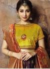 Orange and Wine Jacquard Silk Trendy Lehenga Choli - 1