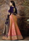 Jacquard Silk Hot Pink and Navy Blue Embroidered Work Trendy A Line Lehenga Choli - 1