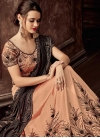 Coffee Brown and Peach Beads Work Designer Lehenga Style Saree - 1