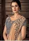 Grey and Peach Beads Work Designer Lehenga Style Saree - 2