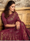 Lycra Embroidered Work Traditional Saree - 1