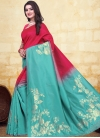 Rose Pink and Turquoise Woven Work Trendy Designer Saree - 1