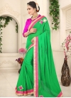 Green and Rose Pink Lace Work Trendy Classic Saree - 1