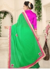 Green and Rose Pink Lace Work Trendy Classic Saree - 2