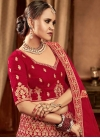 Embroidered Work Velvet Trendy A Line Lehenga Choli - 1