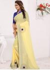 Blue and Yellow Designer Contemporary Saree For Casual - 1