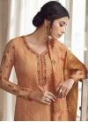 Satin Silk Palazzo Style Pakistani Salwar Suit For Ceremonial - 1