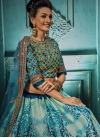 Art Silk Aqua Blue and Blue Trendy A Line Lehenga Choli - 1
