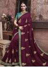Teal and Wine Embroidered Work Designer Contemporary Style Saree - 1