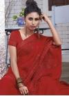 Chiffon Satin Embroidered Work Designer Contemporary Style Saree - 1