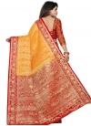 Orange and Red Art Silk Designer Traditional Saree - 1