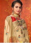 Woven Work Cream and Red Designer Traditional Saree - 1