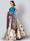 Light Blue and Off White Trendy A Line Lehenga Choli For Ceremonial - 1