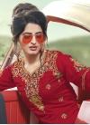Grey and Red Satin Silk Sharara Salwar Kameez For Ceremonial - 1
