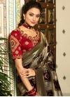 Black and Grey Banarasi Silk Designer Traditional Saree - 1