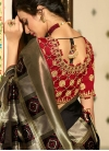 Black and Grey Banarasi Silk Designer Traditional Saree - 2