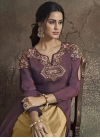 Embroidered Work Tafeta Silk Cream and Wine Readymade Layered Gown - 1