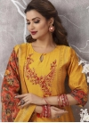 Cotton Silk Orange and Red Embroidered Work Readymade Churidar Salwar Suit - 1