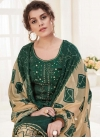 Digital Print Work Cotton Bottle Green and Cream Semi Patiala Salwar Kameez - 1