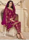 Embroidered Work Faux Georgette Pant Style Classic Salwar Suit - 1