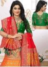 Green and Orange Embroidered Work Jacquard Silk Trendy A Line Lehenga Choli - 1