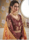 Embroidered Work Satin Silk Readymade Designer Gown - 1