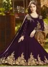 Embroidered Work Faux Georgette Floor Length Anarkali Salwar Suit - 1