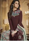Coffee Brown and Sea Green Digital Print Work Designer Palazzo Salwar Kameez - 1