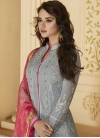 Grey and Rose Pink Pant Style Salwar Kameez For Ceremonial - 2