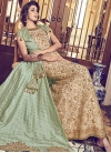 Jacquard Silk Beige and Mint Green Beads Work Jacket Style Floor Length Suit - 1