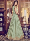 Jacquard Silk Beige and Mint Green Beads Work Jacket Style Floor Length Suit - 2