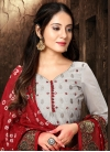 Red and Silver Color Pakistani Straight Salwar Kameez For Casual - 1
