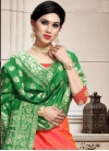 Banarasi Silk Green and Orange A - Line Lehenga - 1