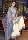 Cream and Light Blue Sharara Salwar Kameez - 1