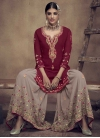 Beige and Maroon Embroidered Work Sharara Salwar Kameez - 1