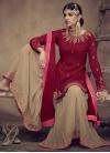 Cream and Red Embroidered Work Sharara Salwar Kameez - 1