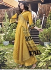 Print Work Jacquard Silk Readymade Long Length Gown - 1