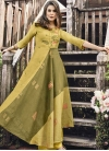 Olive and Yellow Embroidered Work Readymade Designer Gown - 1