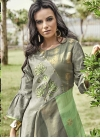 Embroidered Work Art Silk Grey and Mint Green Readymade Floor Length Gown - 2
