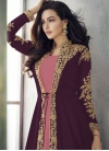 Embroidered Work Salmon and Wine Jacket Style Floor Length Suit - 1