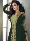 Bottle Green and Mint Green Embroidered Work Jacket Style Long Length Suit - 1
