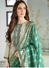 Beige and Sea Green Pant Style Classic Salwar Suit - 1