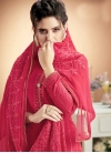 Cotton Satin Embroidered Work Palazzo Style Pakistani Salwar Suit - 1