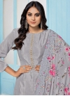 Grey and Off White Pant Style Classic Salwar Suit - 1