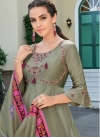 Embroidered Work Satin Silk Readymade Salwar Kameez - 1