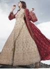 Cream and Maroon Embroidered Work Silk Floor Length Anarkali Salwar Suit - 1